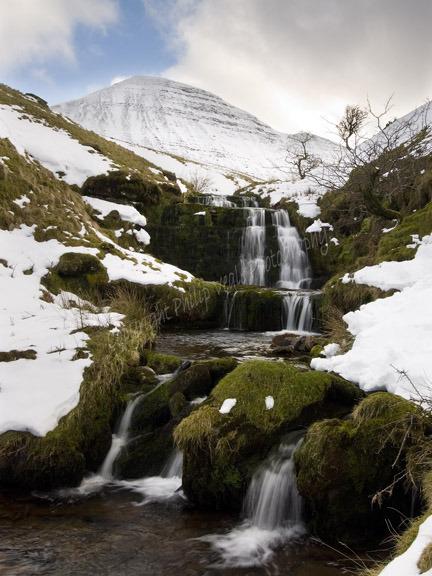 Waterfalls and Cribyn in winter. The Brecon Beacons.