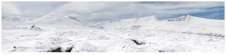 Panoramic view of a snow covered Brecon Beacons. Limited Edition Print of 50.
