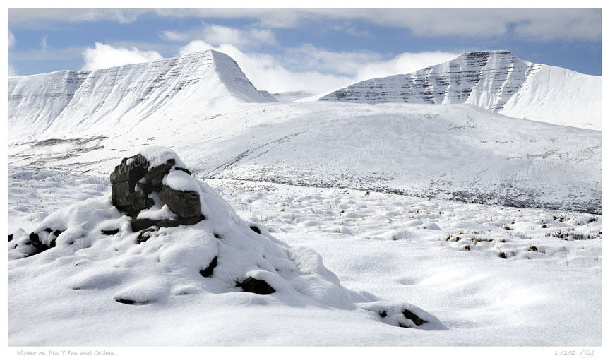Winter on Pen y Fan and Cribyn. Limited Edition Print of 250