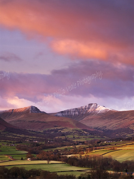 Winter sunrise, Pen y Fan and Cribyn.