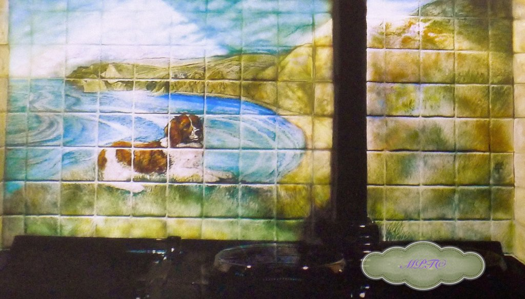Hand Painted Tile Mural. This is an example of a Bespoke Mural. Prices for a Mural start at £500 depending on number of tiles & complexity of design.