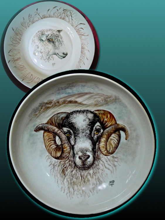 Blackface Ram Hand Painted Bowl. (back left) Longwool Bowl, also unique and hand painted. Designs used for Printed Mugs and Tiles.