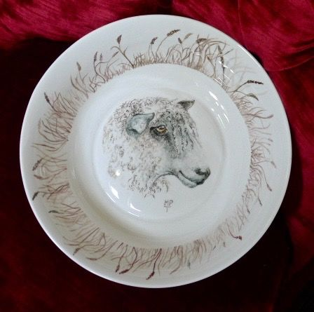 Unique Hand Painted Longwool Sheep onto a Bowl. Hand Painted China and Tiles uk.