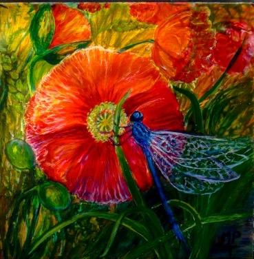 """Poppy & Damselfly"" Inspired by my garden pond."