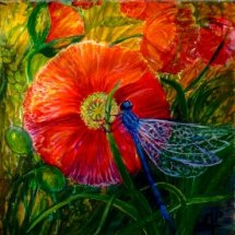 """Poppy & Damselfly"" Inspired by my garden pond."
