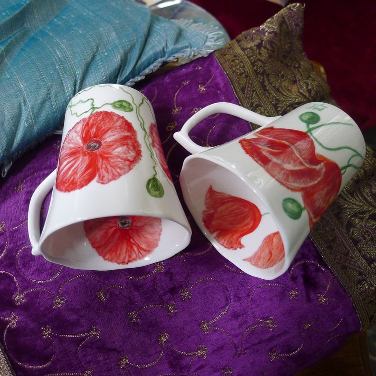 English Garden Flowers Fine Bone China Unique Hand Painted Poppy Mugs. Fine Bone China £30. each. £5. P&P