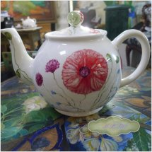 Hand Painted Poppy Teapot £80