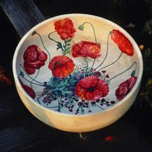 Hand Painted Poppy Wooden Bowl