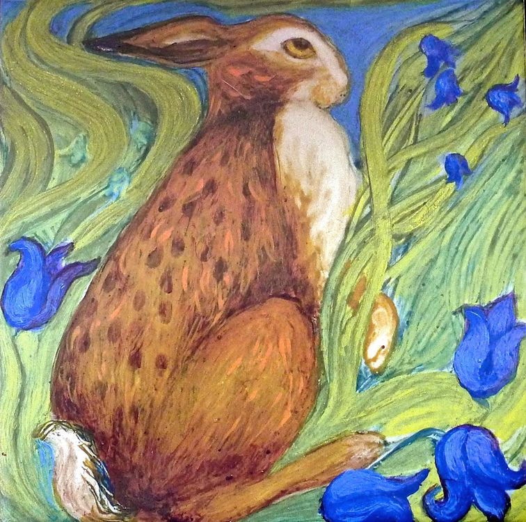 Hare Belles Tile 1. For sale on: Tiles & Mugs for Sale.  Printed Limited Edition Prints £14.99 each.
