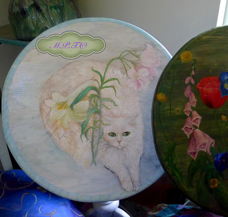 Hand Painted Furniture. Tilt Top Table Hand Painted.The White Cat. £175.