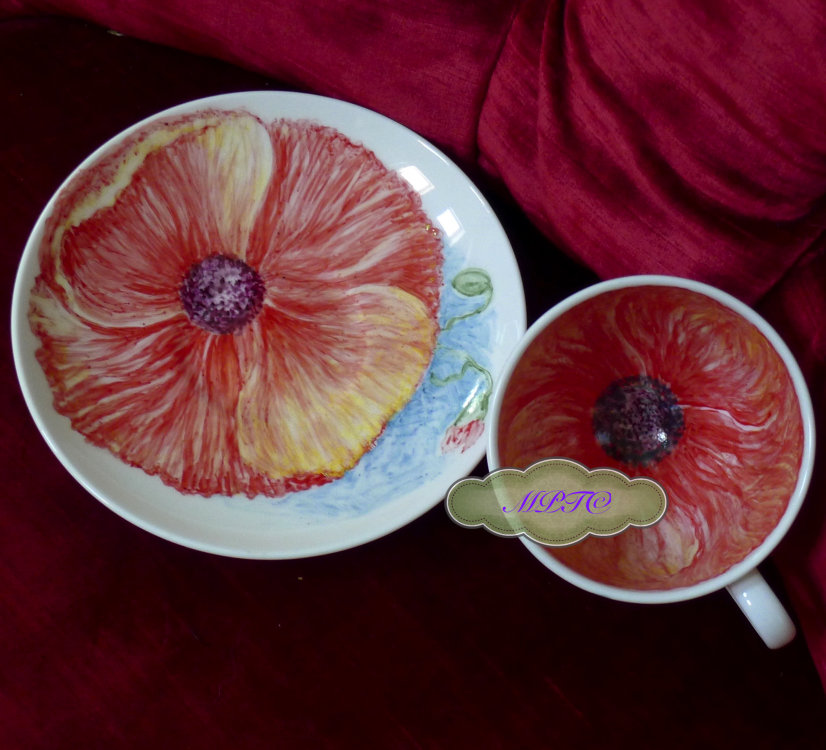 "Veiw 2. Inside of ""The Poppy"" Cup & Saucer"