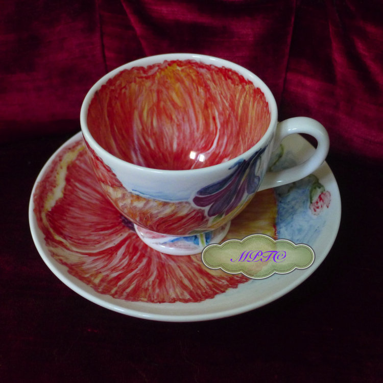 "Bespoke Hand Painted ""The Poppy"" Cup and Saucer- For Sale Gallery 2A. £30.00"