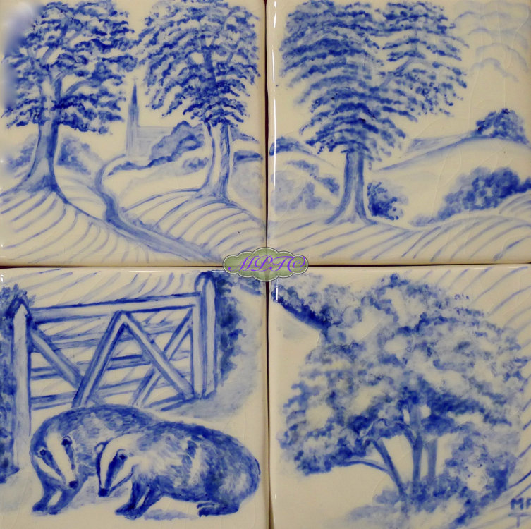 The Badgers 1. four tile Splashback £100. Four 5 inch Hand Painted Tiles.