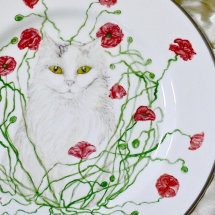 Hand Painted Portrait of Cat on Fine Bone China Plate. Advertised in November Edition HOMES & ANTIQUES. The Special Portrait Promotion extended until Easter 2016