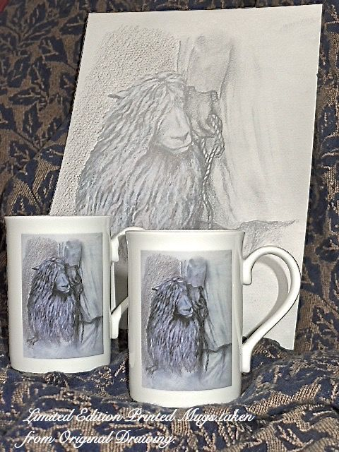 """Drawing of """"The Shepherd"""" with Limited Edition Mugs"""