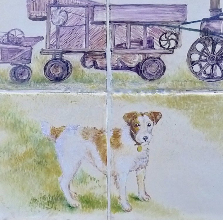 "Close up view of Dog ""Dog & Threshing Machine"""
