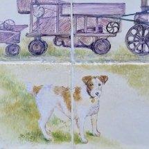 """Close up view of Dog """"Dog & Threshing Machine"""""""