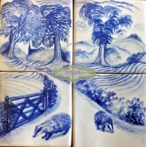 Badgers 2. Four 5 inch Hand Painted Tiles £100.00