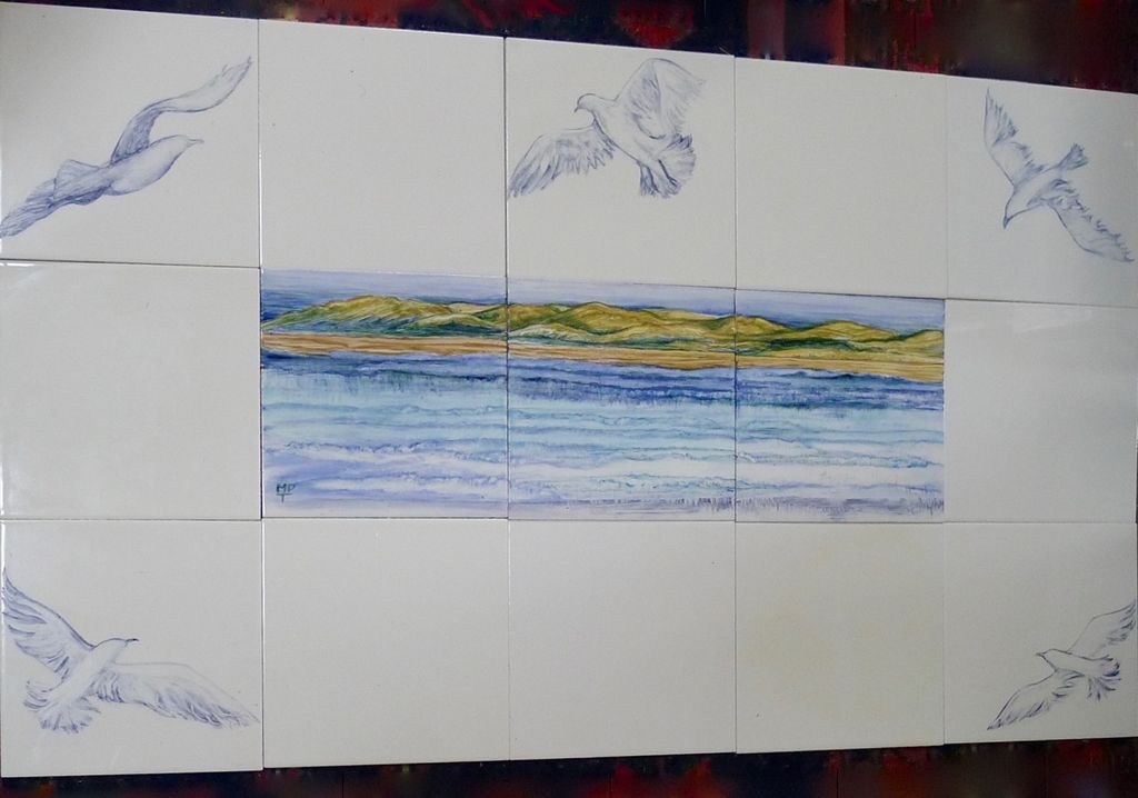 """""""The Seagulls"""" New Hand Painted Design from Margaret Taylor. Normal Price £150.00. Sale Price £125.00 Fifteen 6 inch Tiles. Watermark to protect copyright"""