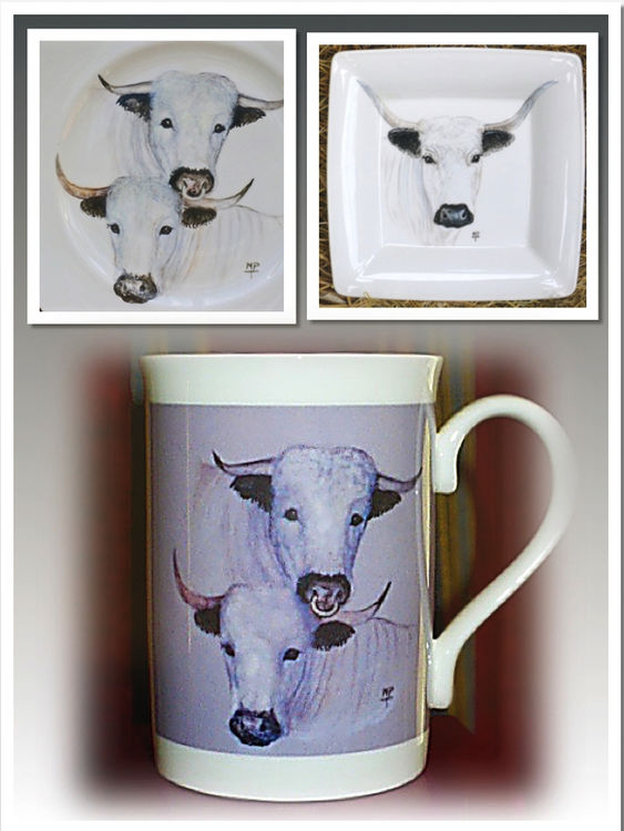 White Park Cattle. Limited Edition Printed Mugs £7.99.