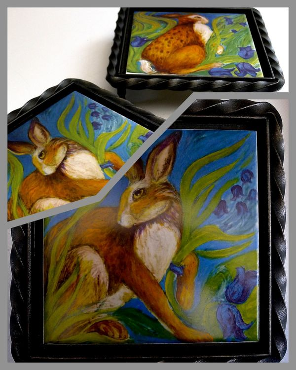 """Limited Edition """"Hare Belles"""" Printed Tile, set in a Wrought Iron Trivet £44.99 Complete with Tile from choice of two 'Hare Belle' tiles."""