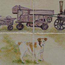 "Close Detail of Dog ""Dog &Threshing Machine"" Each Tile 6 inches"