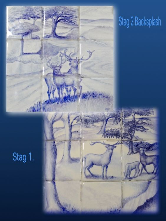 """(Left)""""Two Stags"""" In the Sale. Normal Price £165.00 Sale Price £135.00 Nine approx 4 inch Tiles. (Right) """"The Stag 1."""" £165.00 Sale Price £135.00."""