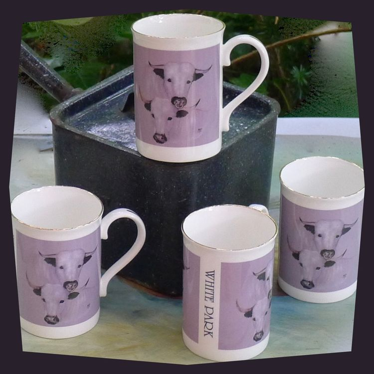 White Park Cattle. Four Limited Edition 'WHITE PARK' printed Mugs. Special Price 4 Mugs for £24.00