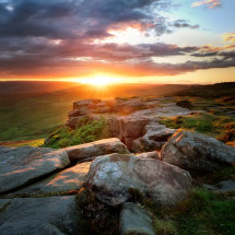 Higger Tor Sunset over Hope Valley