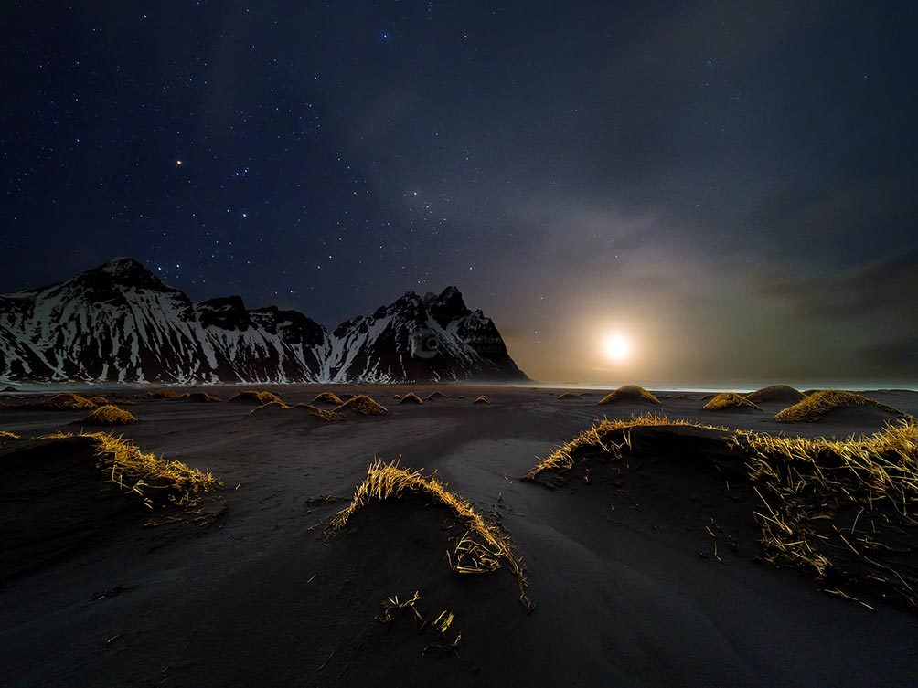 MoonSet Over Vesturhorn.