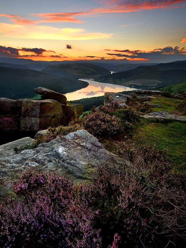 Bamford Edge Sunset Over Ladybower