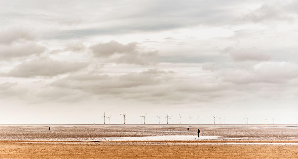 1st Nigel Byrom , Coastal Landscape, Crosby, Sculptures And Windfarm