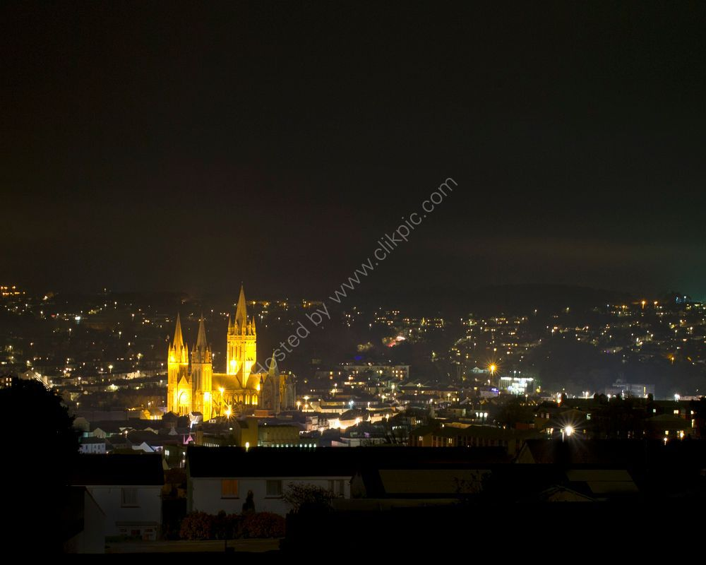 Truro cathedral and city at night.