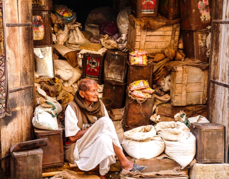 Eleanor Smith.1.Man in shop in Jaisalmer