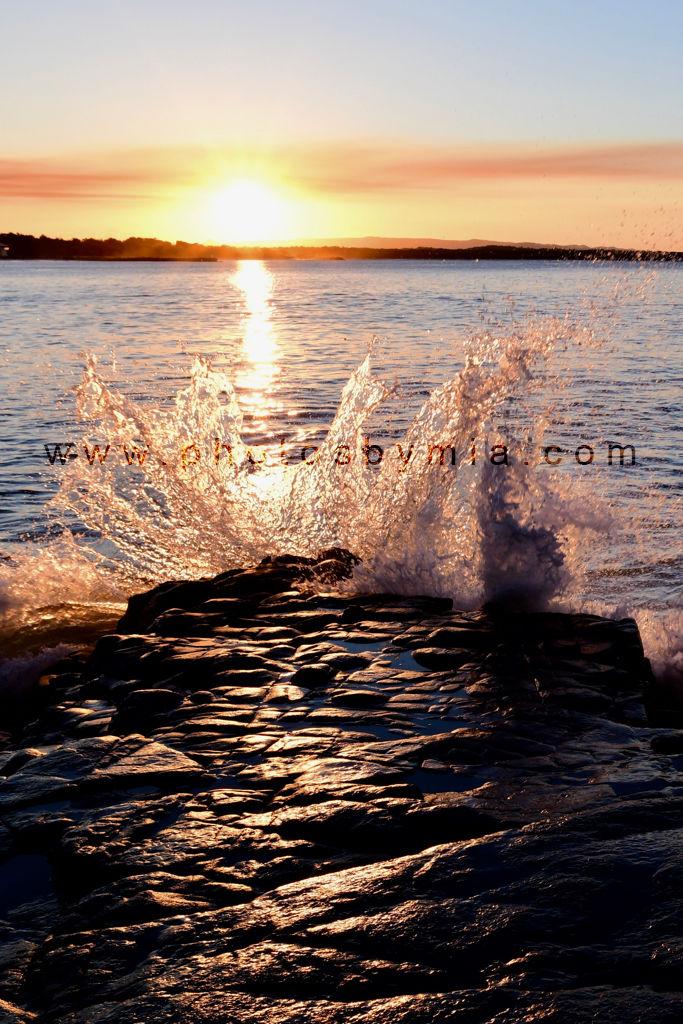 Splashing at Sunset