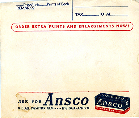 Ansco film packet front from 1940s or 50s