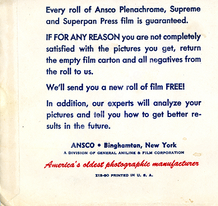 Ansco film packet rear from 1940s or 50s.
