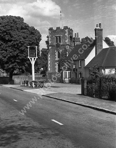 Black Horse Fulmer, Bucks with St James parish church 1950s