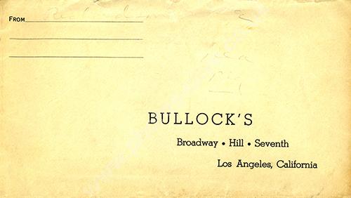 Bullocks Department Store reply envelope 1950s