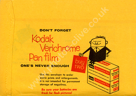 Front face of a Kodak Verichrome film packet 1950s
