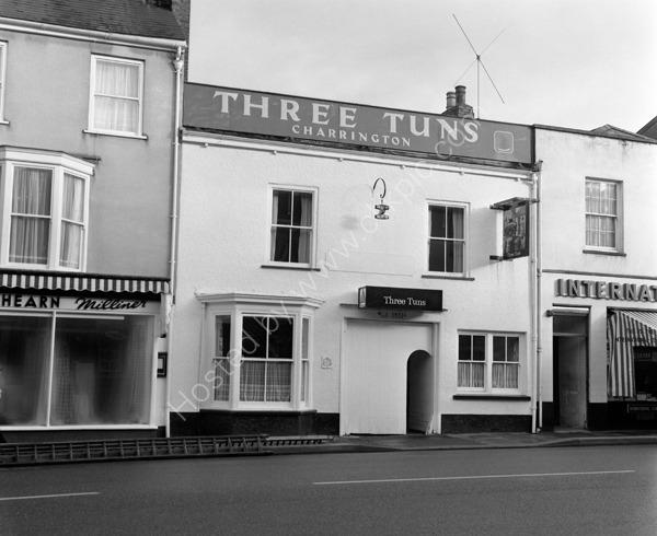 Three Tuns Public House, 133 High Street, Honiton Devon EX14 1HR around 1974