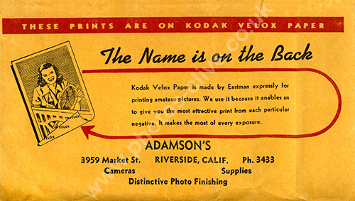 Kodak Velox front face of film packet from Adamsons