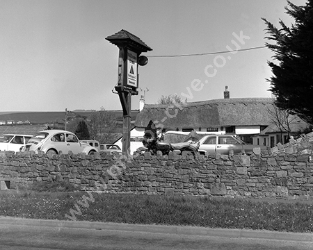 Post sign, Williams Arms, Wrafton, Braunton, Barnstaple, around 1973-74