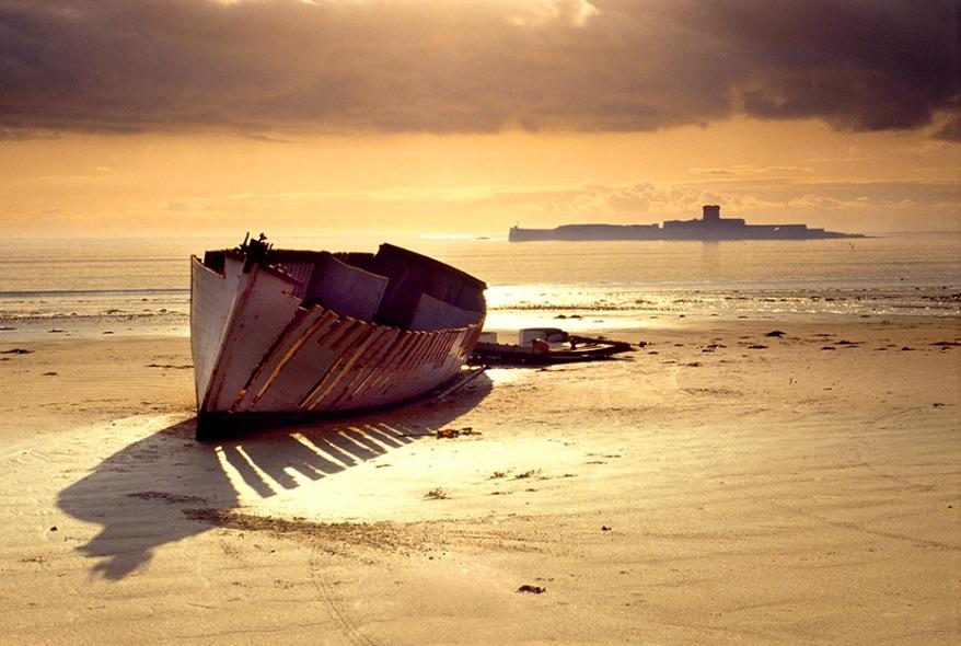 Wrecked Boat, St Aubin's Fort