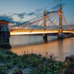Night falls at Albert Bridge