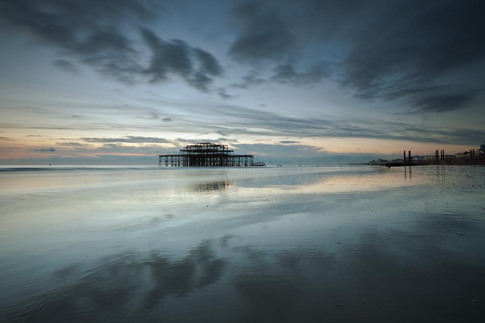 Twilight on Brighton beach