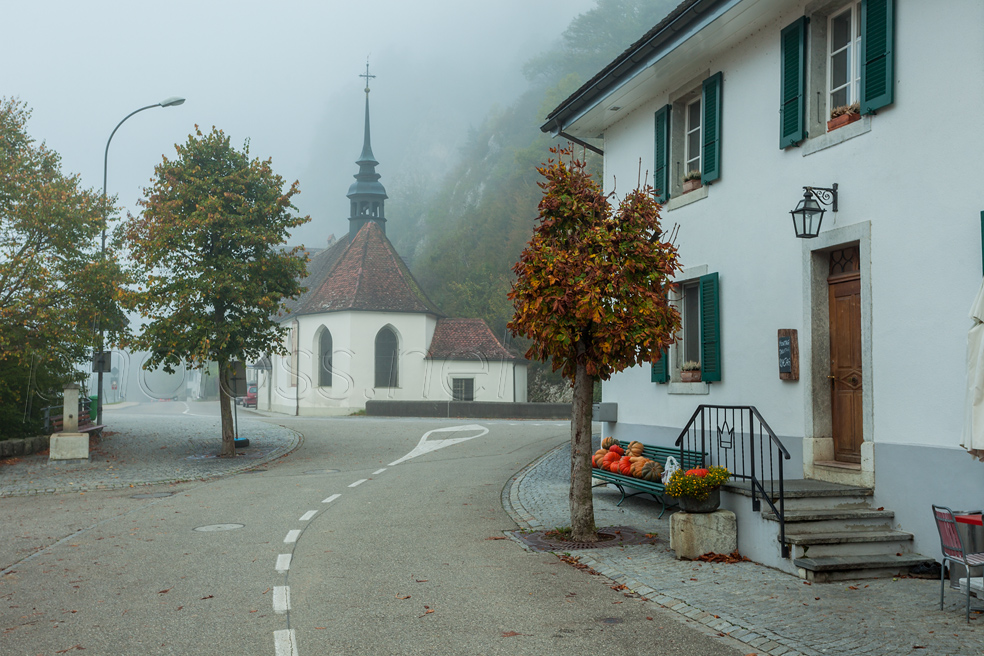 Foggy morning at Sankt Wolfgang chapel