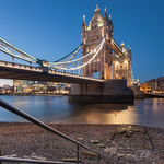 Night falls at Tower Bridge