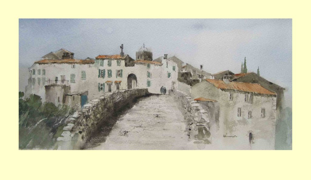 166 Ribaute, Aude - Crossing the Bridge - France 50 x 22cm £390