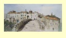 166 Ribaute, Aude - Crossing the Bridge - France 50 x 22cm £390